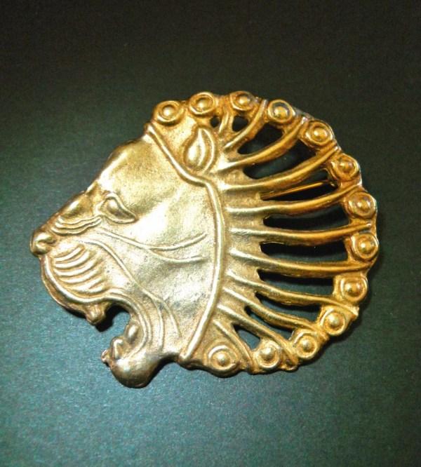 Lion Head Brooch-pin Metropolitan Museum Of Art Gold Overlay
