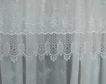 Antique Lace Curtain Etsy