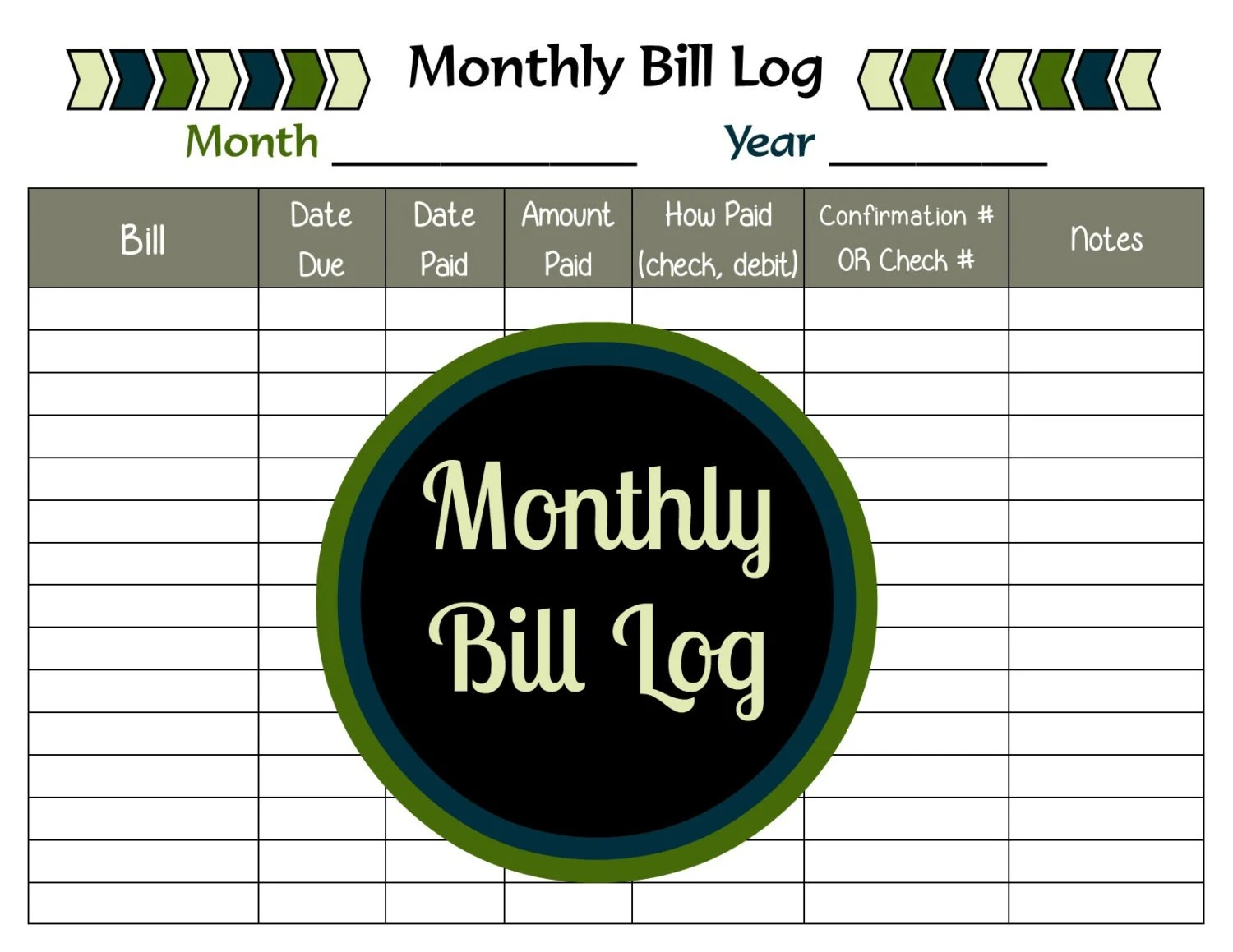Monthly Bill Log Printable Bill Payment Tracker