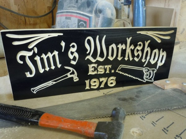 Personalized Workshop Sign Custom Carved Wooden