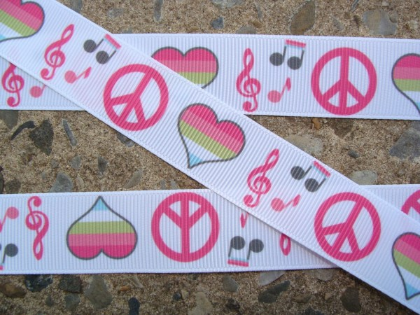 Peace Ribbon Heart Music Printed 7 8 3