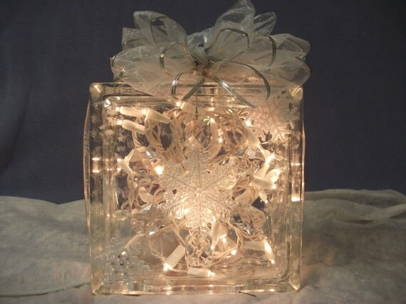 Christmas Decorative Lighted Glass Block With Clear Lights