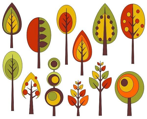 retro trees clip art autumn