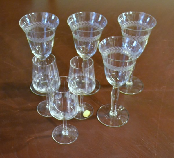 Seven Vintage Glasses Etched Glass Wine And Cordial Barware