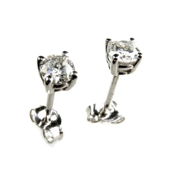 Items similar to Baby Diamond Stud Earrings, White Gold