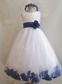 Flower Girl Dresses WHITE with Blue Royal Rose by ...