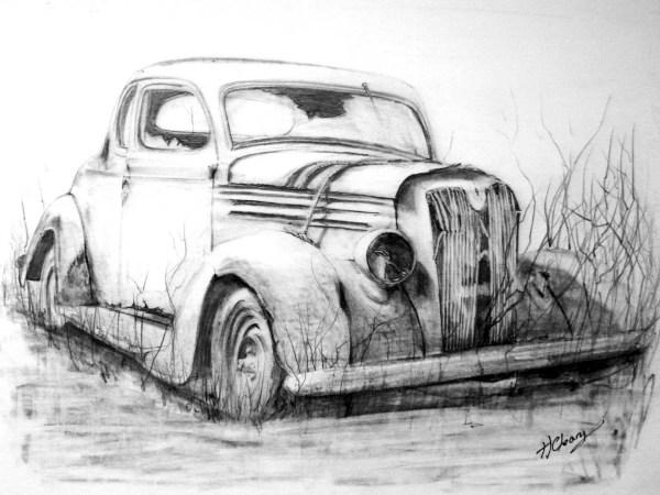 Abandoned Car Graphite Pencil Drawing. Print