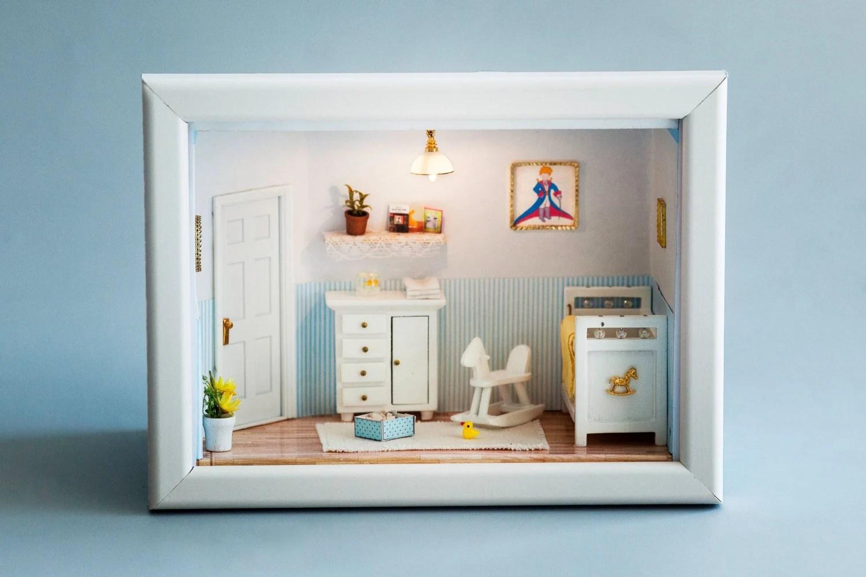 Baby boy .little prince. miniature room, Shower gift for new baby. - MiniaturesBelina