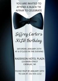 Adult Birthday Invitation, Black-Tie Affair Invitation ...