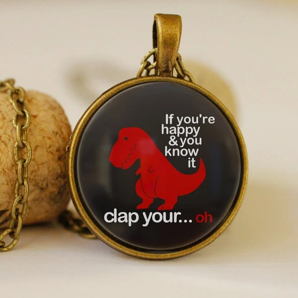 dino pendant, black and red, t-rex, animal necklaces, glass dome jewelry, glass lens (0442) - pendantsworld
