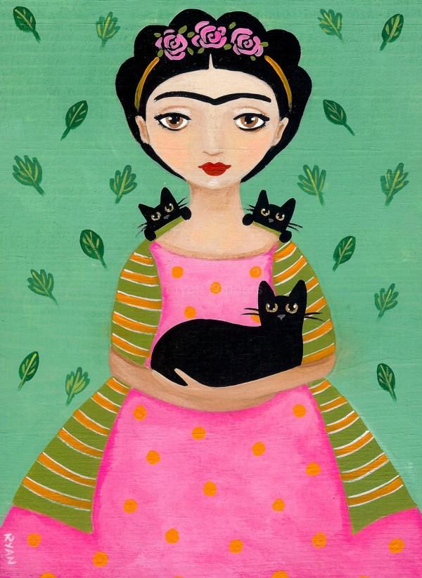 Fridas Black Cats Original Cat Folk Art Painting