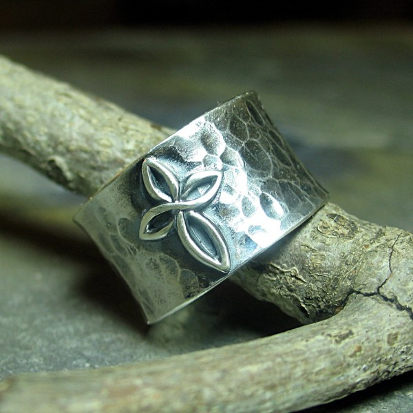 Cross Ring Sterling Silver Wide Band Hammered Christian