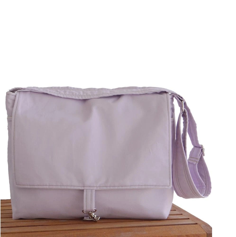 Orchid Lavender Small Messenger Cross Body Bag 15 inch Laptop - hmmills