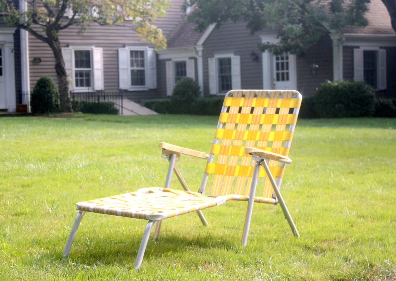 Vintage Aluminum Folding Chaise Lounge Chair Retro Yellow