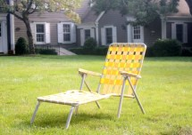 Vintage Aluminum Folding Chaise Lounge Chair Retro Yellow