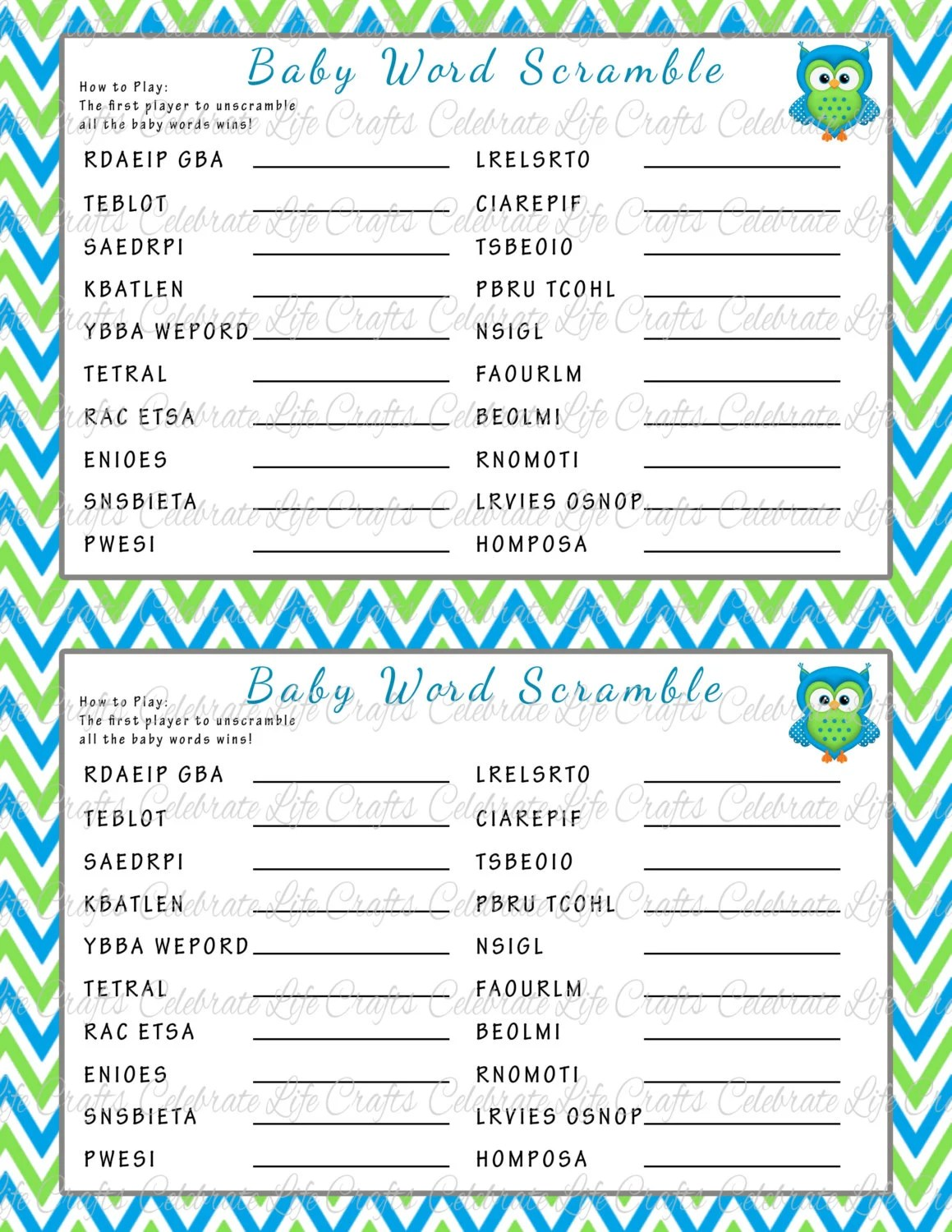 Baby Shower Word Scramble Game Printable By Celebratelifecrafts