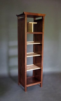 Narrow Bookcase: Tall Display Cabinet Media Tower