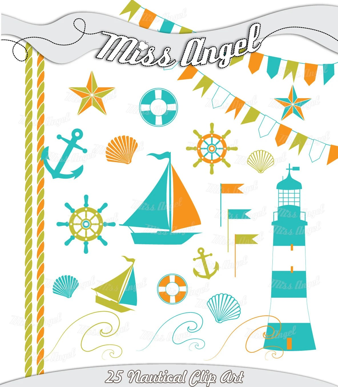 Nautical Clipart Nautical Digital 23 Scrapbook Elements Printables Orange Blue Green Sail