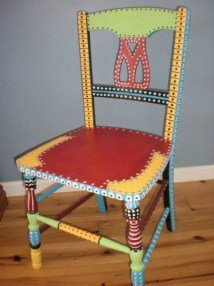Hand Painted Whimsical Chair Gypsy Folk Art Brilliant Colors