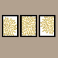 GLITTER Gold Wall Art CANVAS or Prints Glam Flower Burst