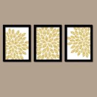 GLITTER Gold Wall Art CANVAS or Prints Glam Flower Burst ...