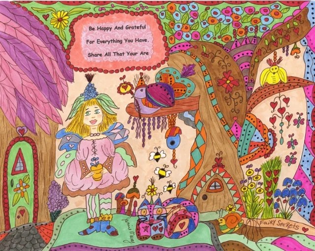 "Fairy Whimsical Folk Art Print ""Be Happy And Grateful"", Fantasy, Fairytale, Enchanted, Vibrant, Colorful. Flowers, Retro, Bird - ArtSings1946"