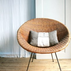 Round Wicker Chair Name Best Company Vintage Mid Century Basket / Local Pickup
