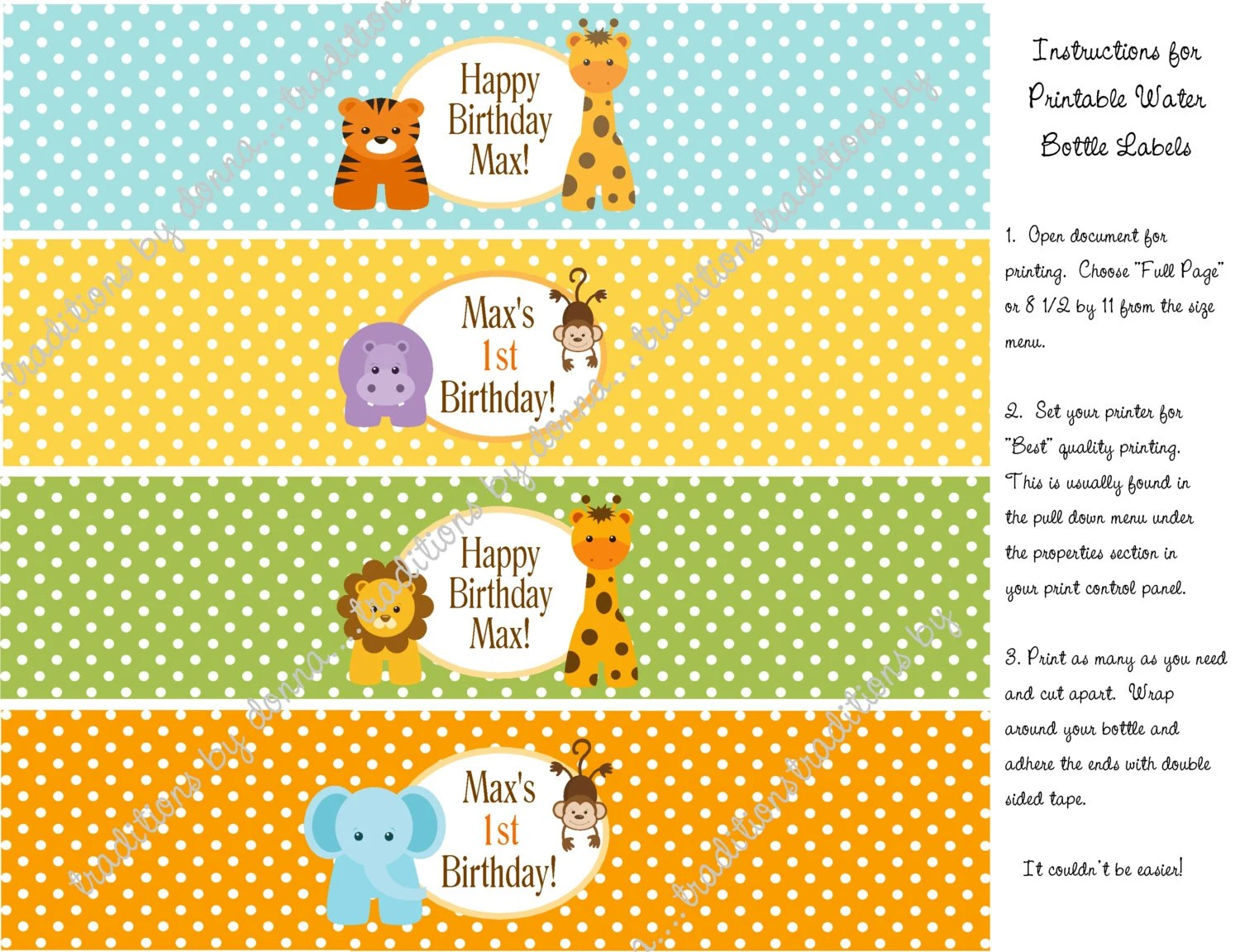 Baby Jungle Animals Personalized Water Bottle Labels