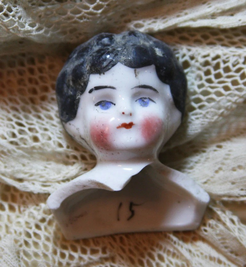 Victorian Porcelain Doll Head Painted from by VintageSupplyCo