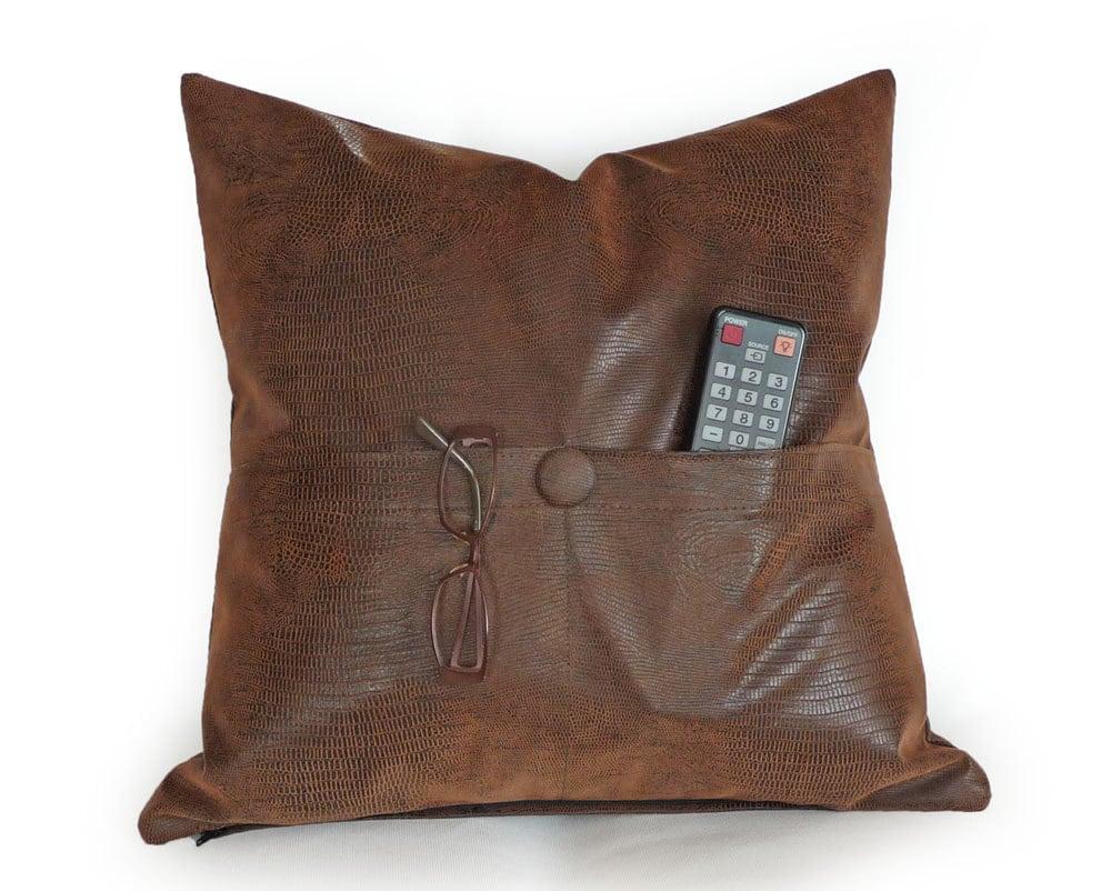 POCKET PILLOW Brown Leather Pillows Man Cave Pillow Reptile