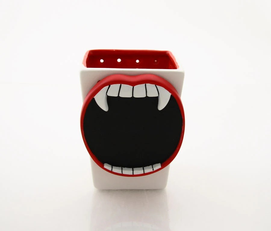 Vampire, vase, pencil cup, jar brush holder,  fun halloween party item - LennyMud