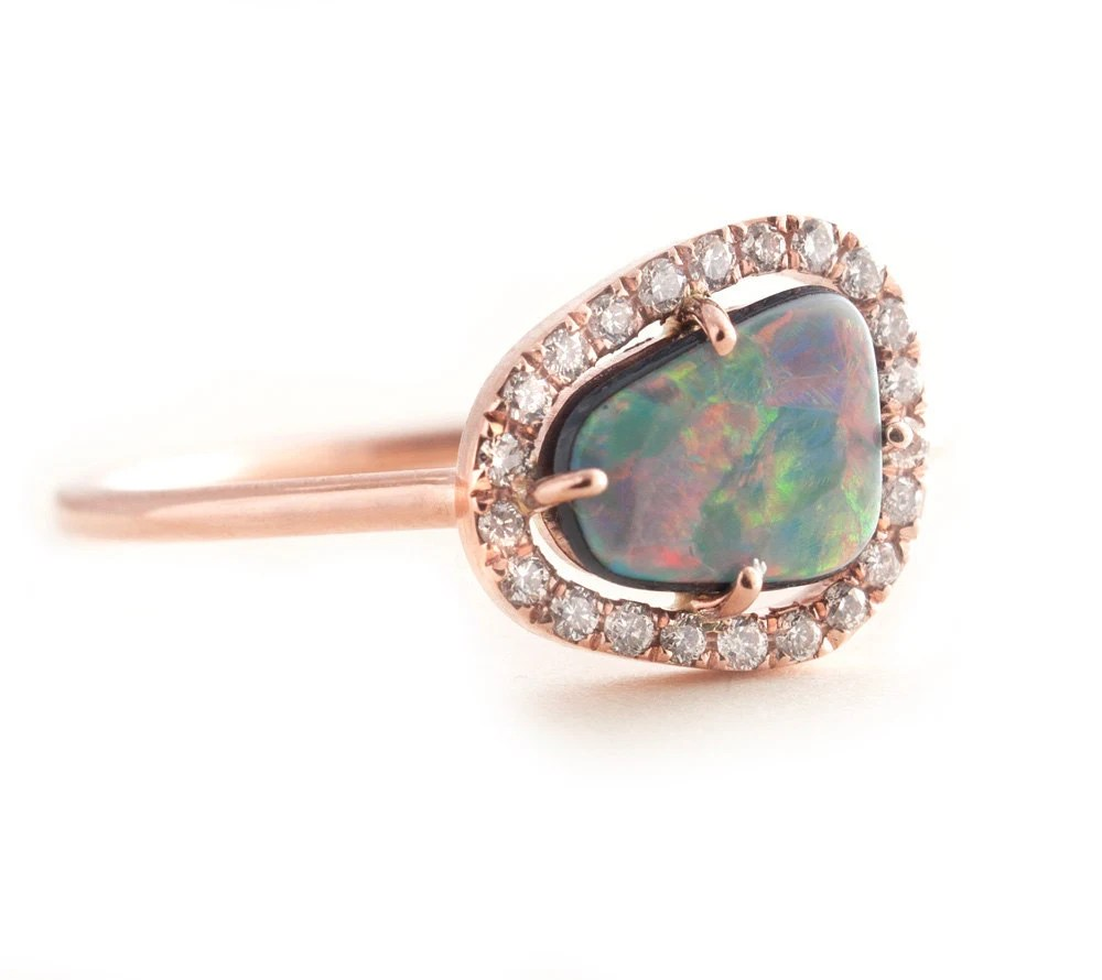 Opal Ring Gold Opal Ring Black Opal Rose Gold Ring by