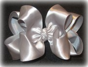 silver satin hair bows double layered