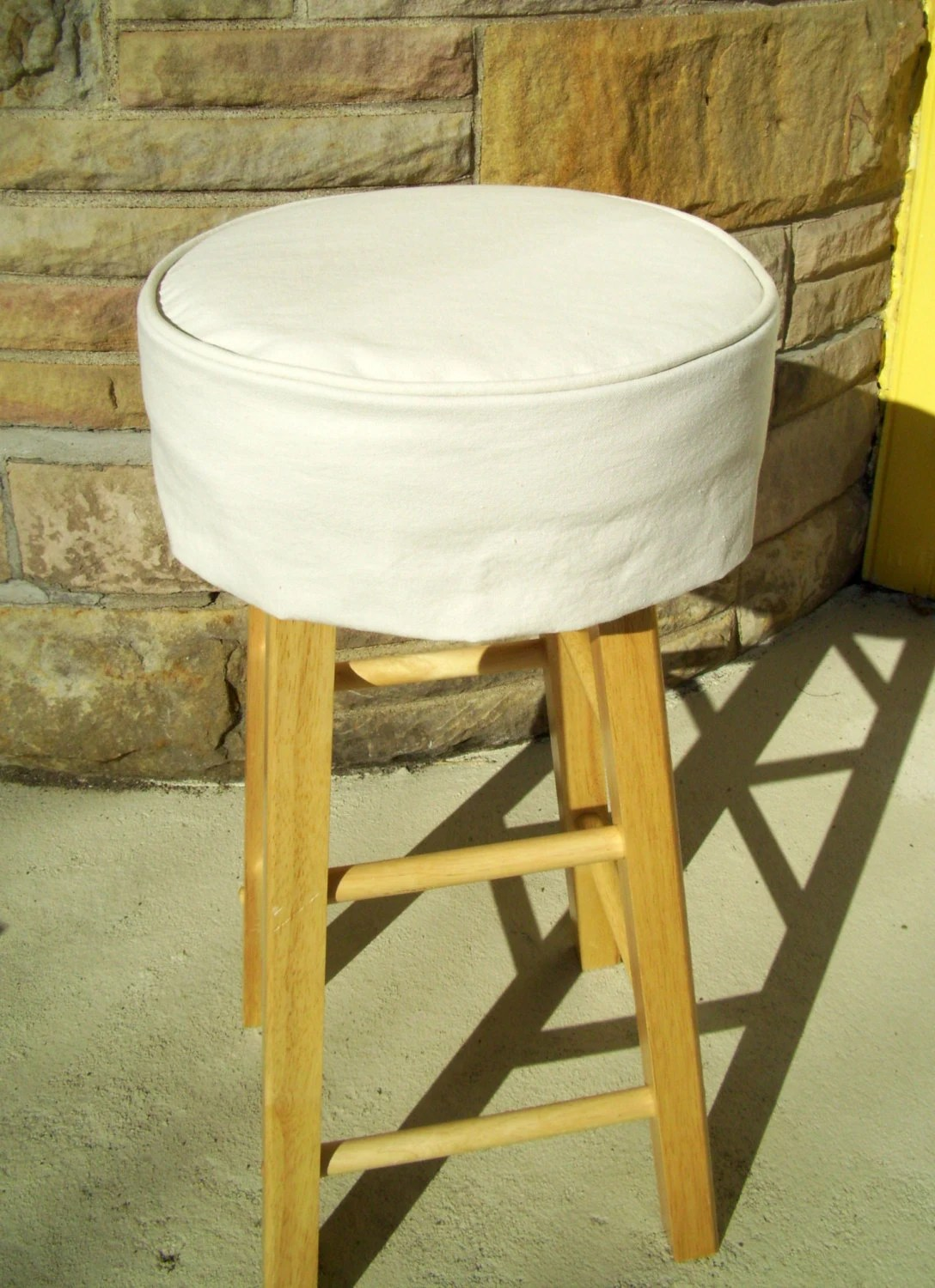Round Chair Cushion Ivory Bar Stool Cushion Round Barstool Slipcover With