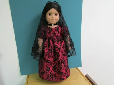 American Girl Doll Lovely Deep Red Taffeta/ Black Velvet Gown with Lace Mantilla for Josefina