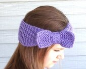 Hand Knit Headband/Ear Warmer - Purple - ArlenesBoutique