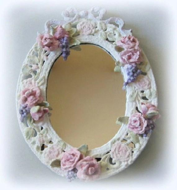 Wall Mirror Framed Mirror White Mirror Flower by afloralaffair