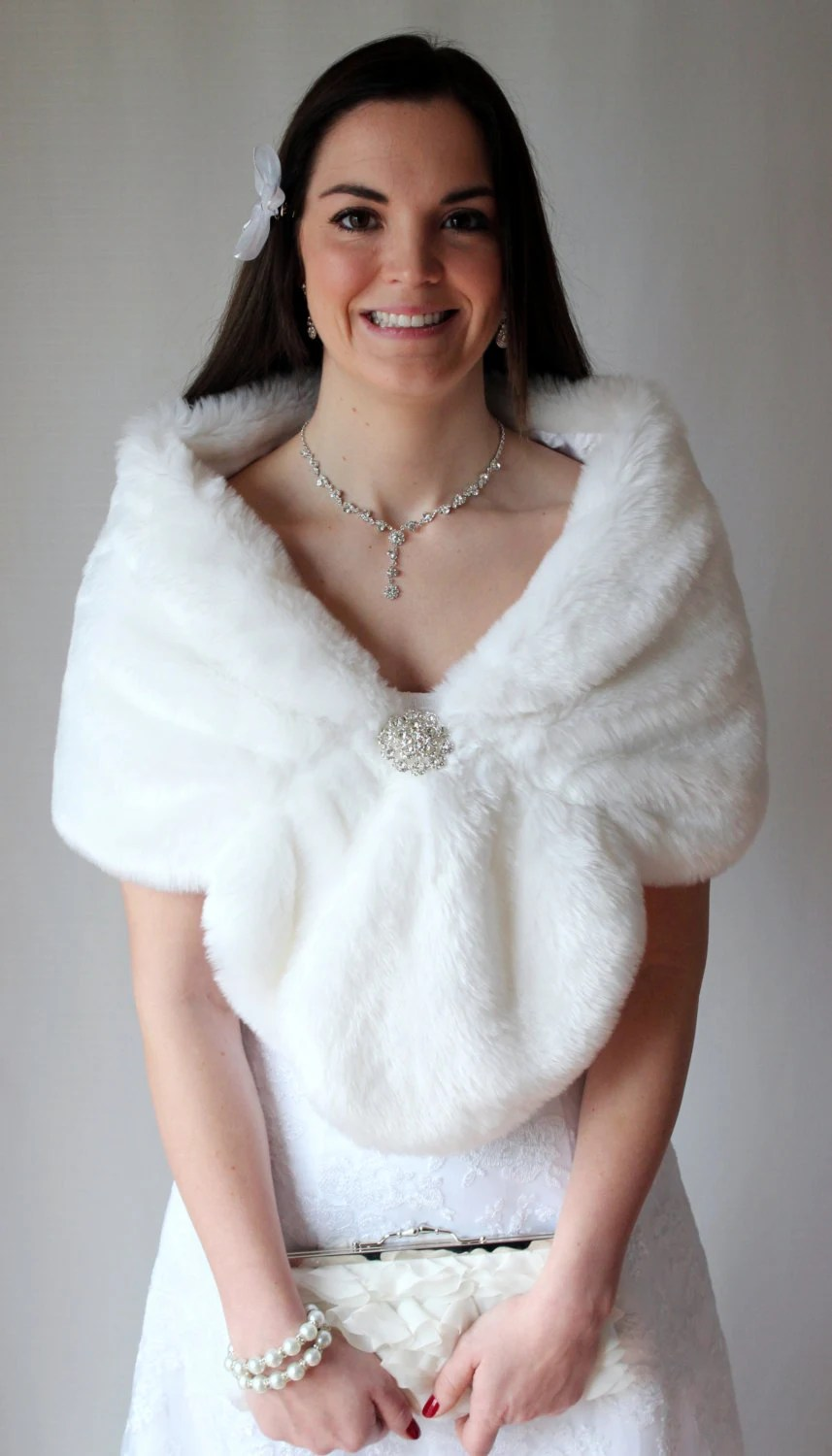 White Faux fur wrap bridal stole 800MM-WHI