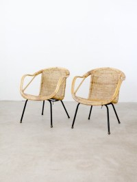 Mid Century Basket Chairs / 1960s bucket seat woven chairs