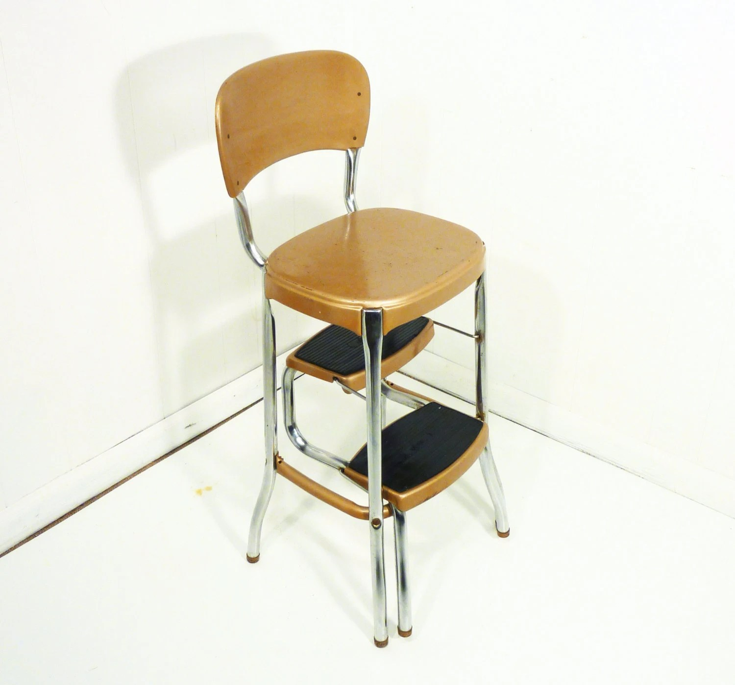 retro chair step stool dining room chairs upholstered with arms 50s vintage kitchen