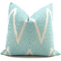 Aqua and Gray Ikat Chevron Decorative Pillow Cover 12x20