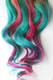 teal tye dye clip in hair extensions