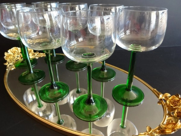 Vintage Green Long Stemmed Large Wine Glasses In France