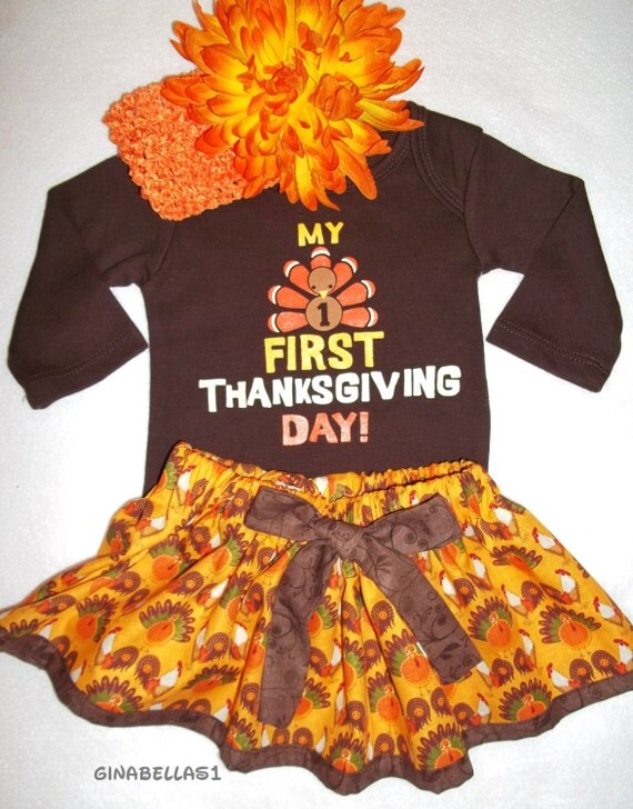 My First Thanksgiving Baby Girl Outfit Onesie By GinaBellas1