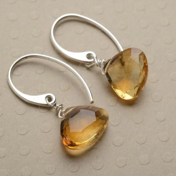 November Birthstone Earrings Citrine Earrings Golden by izuly