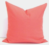 SOLID CORAL PILLOW.24x24 Pillow Cover.Euro by ElemenOPillows