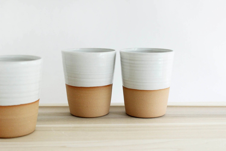 Four Mugs Without Handles White Minimalist Ceramic