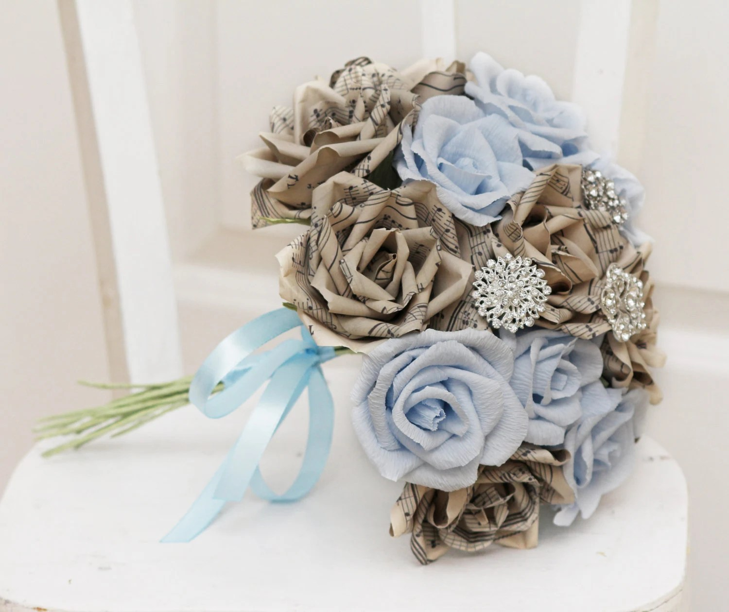 turquoise paper flowers and brooch bouquet, broach bouquets, music notes bouquet,
