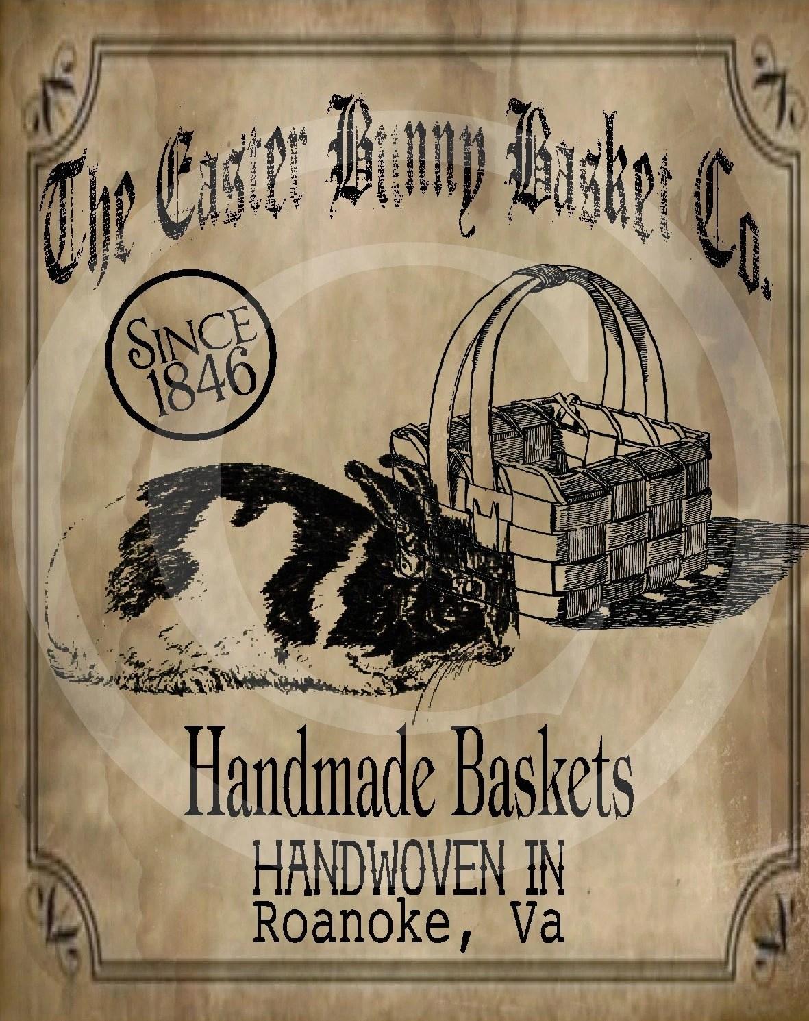 Primitive Vintage Easter Bunny Rabbit Basket Co Spring