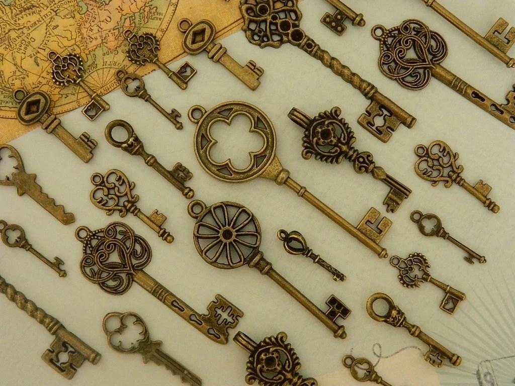 28 skeleton keys antique bronze skeleton key keys set wedding